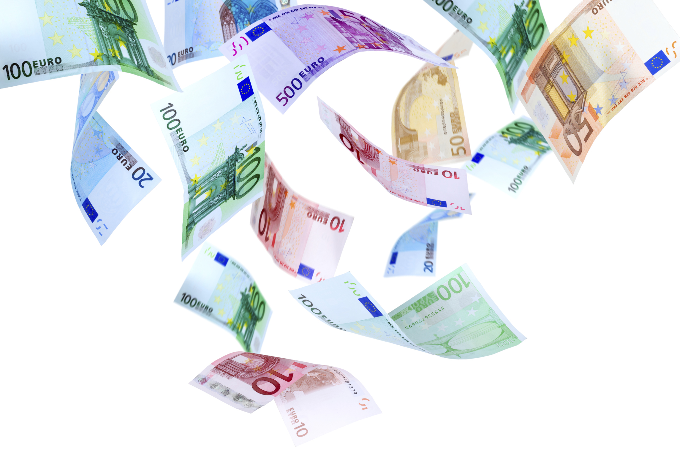 Falling Euro banknotes on a white background